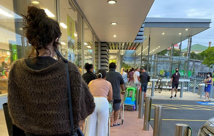 A queue formed outside the Grey Lynn Countdown in Auckland shortly after it was announced the city would be moving to alert level 3