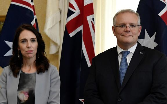 Prime Minister Jacinda Ardern and Australia's Prime Minister Scott Morrison attend the signing of the Indigenous Collaboration Arrangement at Admiralty House in Sydney on February 28, 2020.
