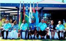Delegates at the Melanesian Spearhead Group Foreign Ministers Meeting in Fiji, 16 June 2016. The new MSG director-general Amena Yauvoli is in centre position.