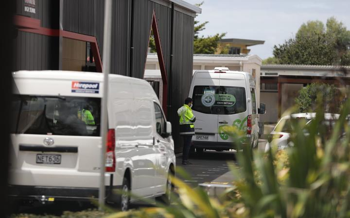 Security ramps up ahead of Covid-19 testing at Papatoetoe High School on 23 February.