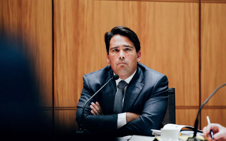 National Party justice spokesperson Simon Bridges at Parliament's police select committee.