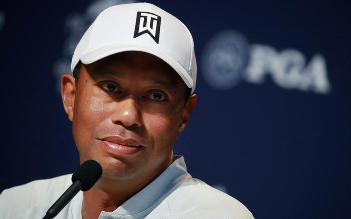 Tiger Woods speaks to the media during a press conference prior to the 2018 PGA Championship at Bellerive Country Club on August 7, 2018 in St. Louis, Missouri.
