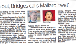 Hawke's Bay Today headlines the bad word Simon Bridges called the speaker - and himself in 2018.