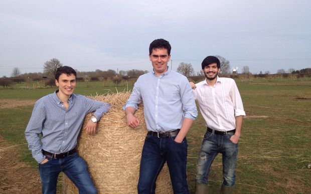 Nick Aristidou, Will Joyce and Stelios Chatzimichail of Bionet, inventors of the edible hay bale wrapping
