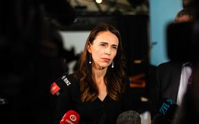 Prime Minister Jacinda Ardern holds a media briefing at the Viaduct in Auckland.  26/02/21