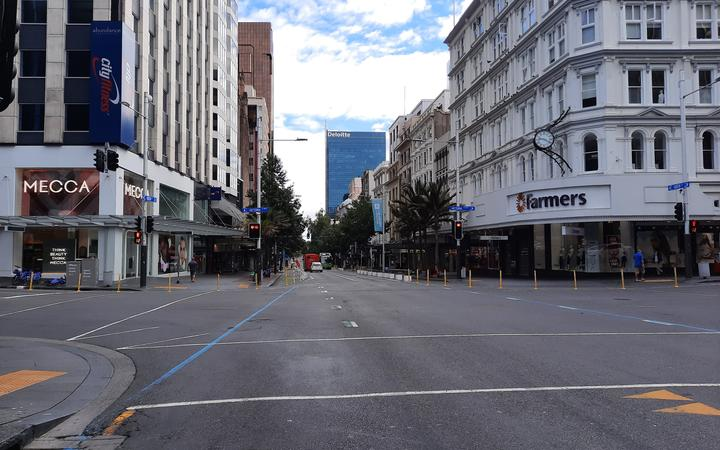Central Auckland at 9am on the first morning of the latest level 3 lockdown.