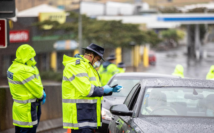 A Covid-19 police checkpoint at Mercer on Monday 15 February
