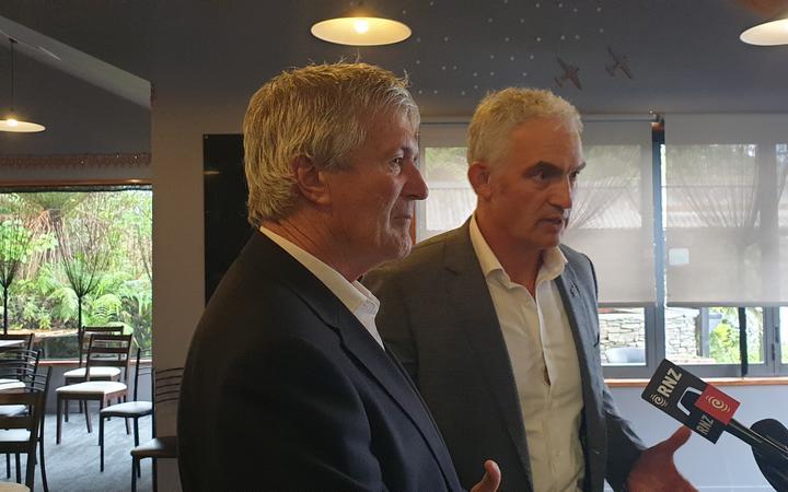 Tourism Minister Stuart Nash and West Coast Tasman MP Damien O'Connor at Franz Josef.