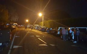 Dozens of cars at Haumoana School in Hawke's Bay, where people from coastal communities of Te Awanga and Hawke's Bay have self-evacuated.