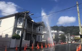 A burst pipe in Mount Victoria, Wellington, has been spraying water high in the air. 5/3/21