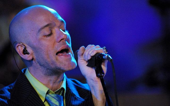 Michael Stipe of REM performing for MTV Unplugged in 1991
