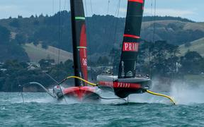 Luna Rossa leads Team New Zealand in race two of the America's Cup 2021.