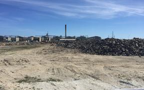 Waste piled up by the main Tiwai Point aluminium smelter site earlier this year.