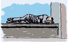 An illustration of a young man who is homeless, sleeping on a bench in the city.