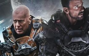 Bruce Willis and Frank Grillo in the 2021science-fiction action film Cosmic Sin