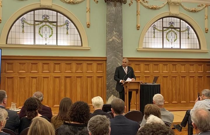 Associate Minister of Health (Māori Health) Peeni Henare speaking at the launch of new health research into Type-2 Diabetes