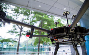 A drone on display at the headquarters of DJI in Shenzhen city.