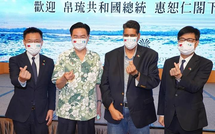 President Surangel Whipps Jr, (2nd from R) visiting Kaohsiung City with Foreign Minister of Taiwan Joseph Wu ( 2nd from L)