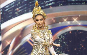 Miss Grand International contestant Han Lay taking part in the national costume part of the contest in Bangkok.