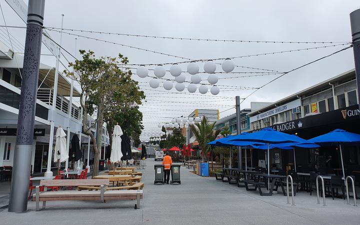 Wharf Street has been made into a pedestrian mall but was empty when our reporter visited.
