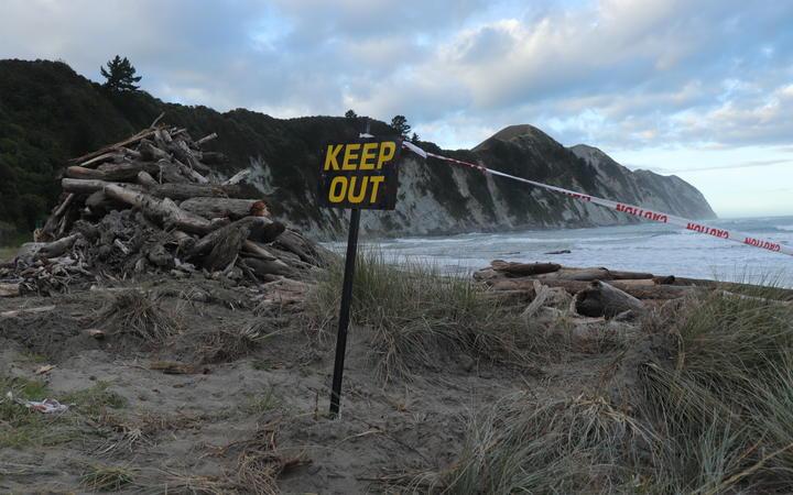 A warning for beachgoers at Tolaga Bay.