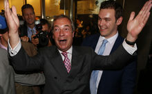 Leader of the United Kingdom Independence Party (UKIP), Nigel Farage reacts outside the Leave.EU referendum party at Millbank Tower in central London on June 24, 2016, as results indicate that it looks likely the UK will leave the European Union (EU).