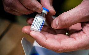 Phials of Johnson & Johnson Janssen Covid-19 vaccines pictured on 12 April 2021 at a distribution centre in the Netherlands.