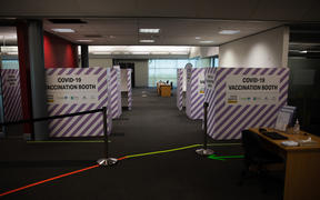 Vaccination booths for the Covid 19 vaccine at a facility in South Auckland