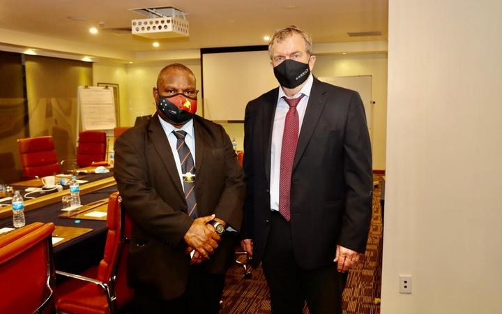 PNG prime minister James Marape and Barrick Gold CEO Mark Bristow in Port Moresby, 15 October 2020.