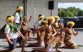 Lynfield College on the Niue stage at Auckland's Polyfest 2021