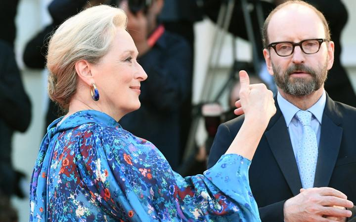 "US actress Meryl Streep and US director Steven Soderbergh arrive for the screening of the film ""The Laundromat"" on September 1, 2019  presented in competition during the 76th Venice Film Festival at Venice Lido."