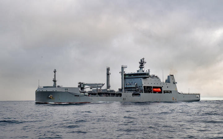 HMNZS Aotearoa arrives in New Plymouth.