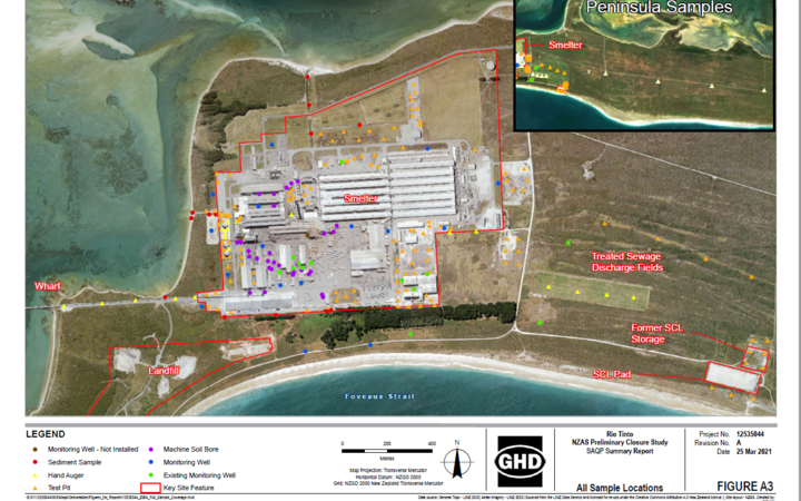 GHD report shows a host of new monitoring wells have been drilled at the Tiwai Point aluminium smelter.
