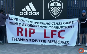 Liverpool FC fans protesting the ill-fated ESL proposal.
