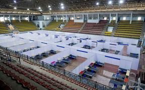 The Koramangala Indoor Stadium is pictured as it is converted to a quarantine centre for the Covid-19 coronavirus patients in Bangalore.