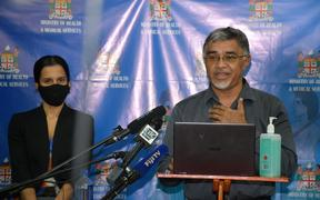 Fiji health officials Dr Aalisha SahuKhan, left, and Dr James Fong.