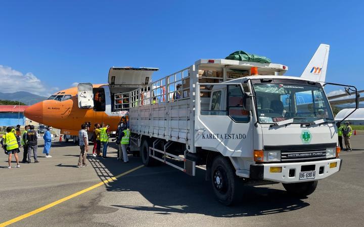Humanitarian supplies arrive in Dili.