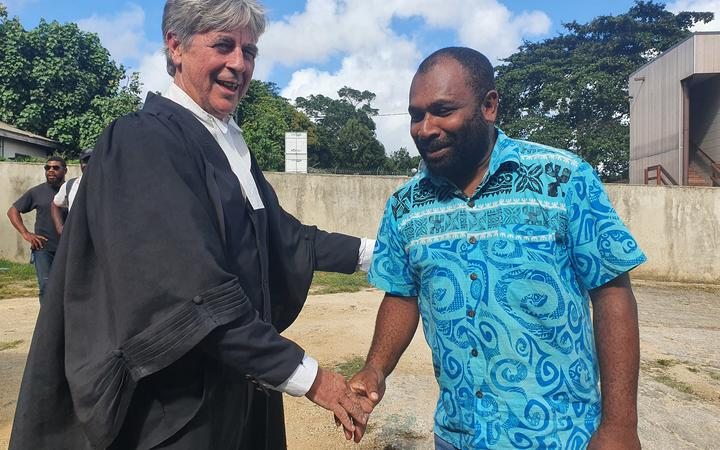 Lawyer Nigel Morisson and his client, Vanuatu's former Public Service Commission chairman Martin Mahe, after charges against the latter were dismissed by the country's Supreme Court.