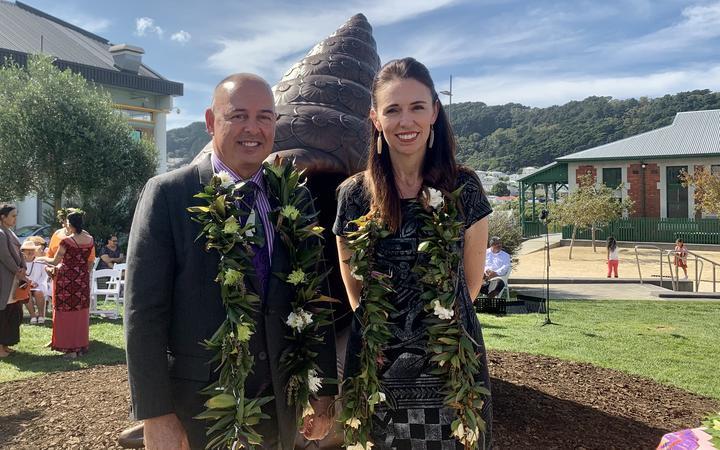 Cook Islands PM Mark Brown and New Zealand PM Jacinda Ardern at dedication of Te Reo Hotunui o Te Moana Nui a Kiwa, the Pacific Islands Memorial at Pukeahu.