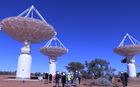 The Australian Square Kilometre Array Pathfinder, or ASKAP, with its 36 dishes, is a precursor to the gigantic SKA telescope.