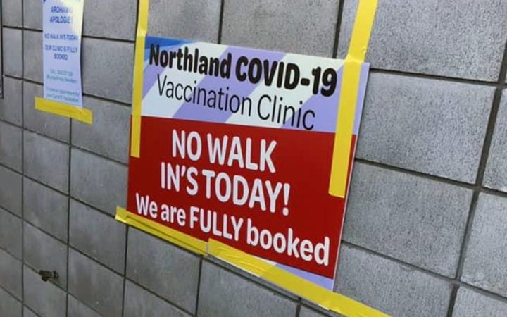 A sign at Whangārei's Semenoff Stadium where the Covid-19 vaccine rollout is facing huge demand.