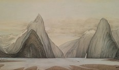 Milford Sound looking north-west from Freshwater Basin, 1863, watercolour on paper By John Buchanan