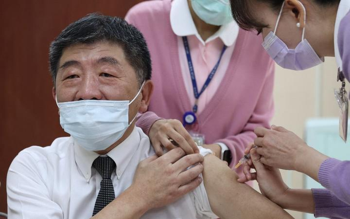 Taiwan's Health Minister Chen Shih-chung receiving a Covid-19 vaccine at the National Taiwan University Hospital in Taipei.