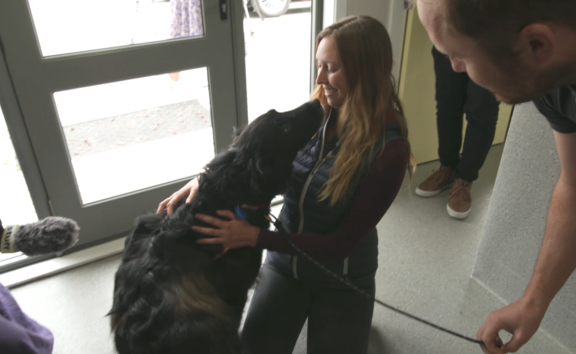 Sage the dog reunited after a year with her owner Jennifer.