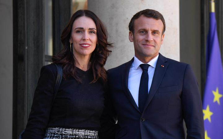 President of the French Republic, Emmanuel Macron (R) welcomes Prime Minister of New Zealand Jacinda Ardern (L) at Elysee Palace in Paris, France on May 15, 2019.