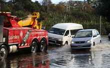Flooding on Beachcroft Avenue, Auckland, June 29, 2016