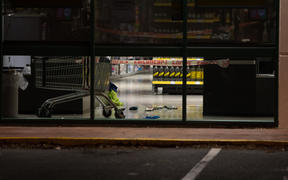 The Cumberland Street Countdown in Dunedin on Tuesday night after four people were stabbed there in an attack that afternoon.