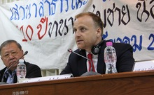 Laywer, Kingsley Abbott speaking on human rights in Thailand