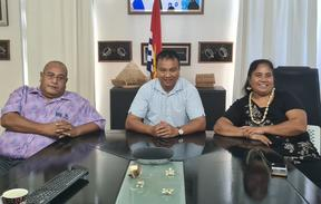 Left to right -  Kiribati Minister of Fisheries and Marine Resources, Ribanataake Tiwau. Kiribati Minister of Health Dr Tinte Itinteang and Employment and Human Resources Minister Taabeta Teakai.