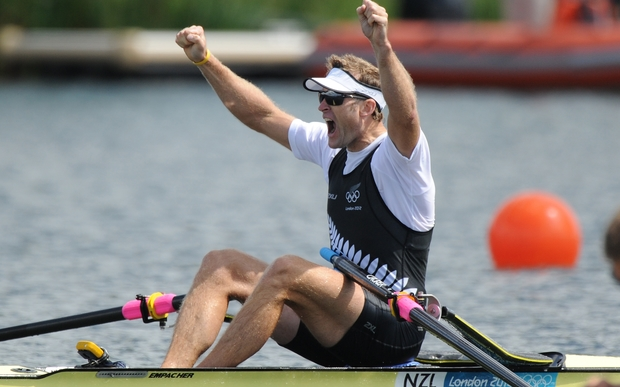 Mahe Drysdale celebrates winning gold in the Men's Single Sculls Olympic Rowing Final at London 2012 Olympics.